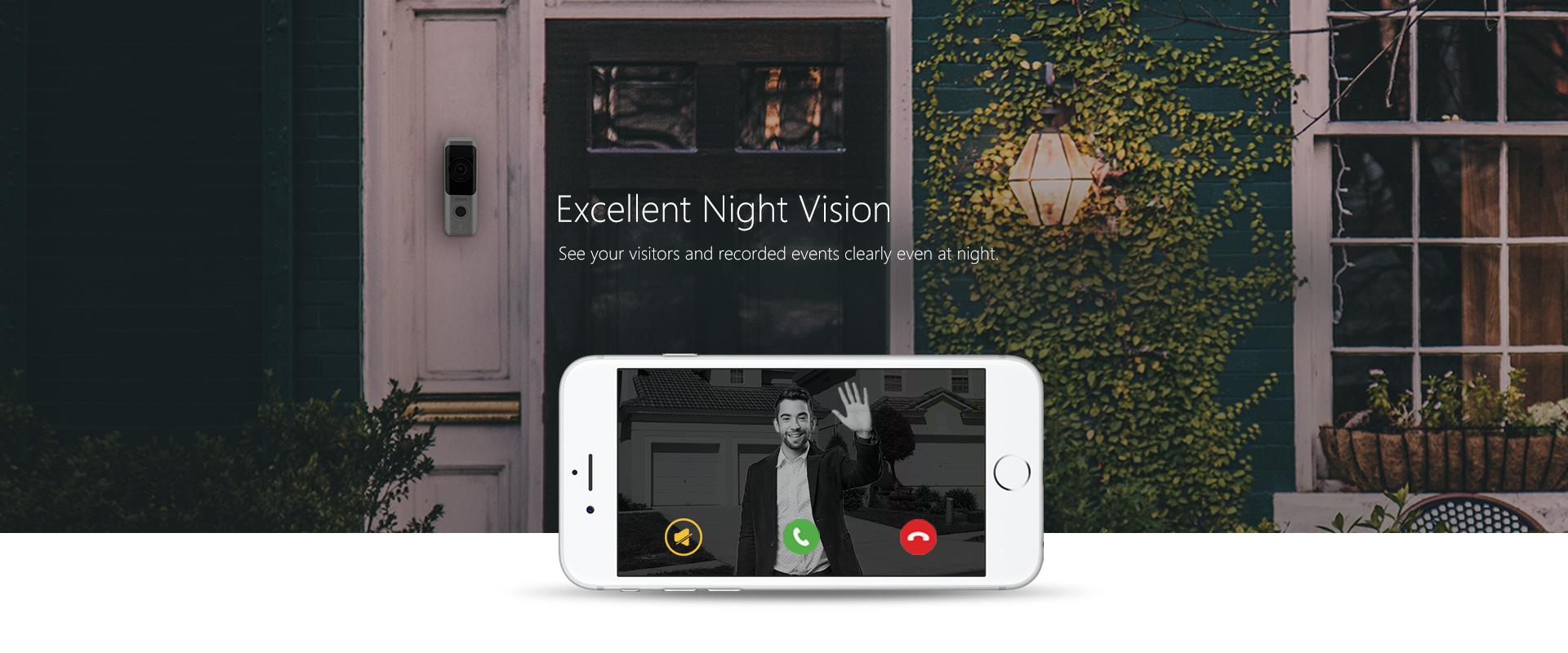Funk-Video-Gegensprechanlage-Installation-fuer-Ihr-Haus-oder-Firma-IP-Tuerklingel-mit-2MP-Kamera-Wi-Fi-und-Batteriebetrieb-Ausgezeichnete Nachtsicht